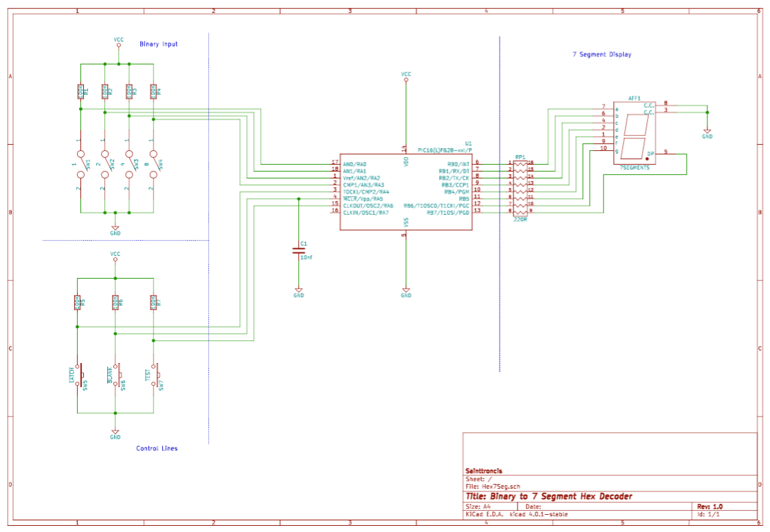 Binary To Hex 7 Segment Led Driver Sainttronics Bcd Sevensegment Decoder With A Seven Display If Any Of These Control Lines Were Active Low The Pic Microcontroller Would Perform Necessary Action Data For Was Latched Into